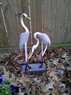 White Egret Duo PVC Bird
