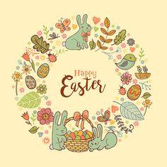 Cute Easte festive frame for greeting card with holiday traditional symbols. in doodle style with Cute Easter Bunnes on beige background.