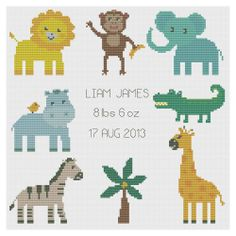 Jungle Animals Birth Sampler Cross Stitch Kit by Florashell