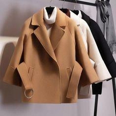 kKissb Hats Women Short Woolen Coat Belt Jacket - Brand Name: Adojewello Look Fashion, Winter Fashion, Fashion Coat, Mode Mantel, Coats For Women, Clothes For Women, Jackets For Women, Belted Coat, Winter Outfits Women