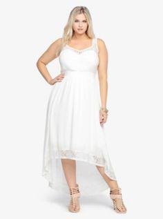 Lace Inset Hi-Lo Maxi Dress