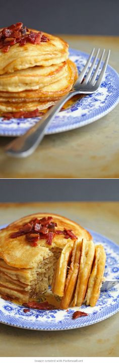 Brown Sugar #Pancakes with #Bacon Maple Butter