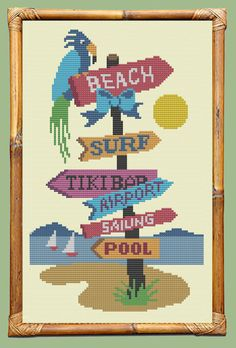 SURF SIGN  Modern Counted Cross Stitch Pattern  by EccentricAvenue
