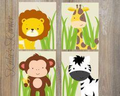 SELVA vivero arte Safari vivero Decor chicos por KalasKorner