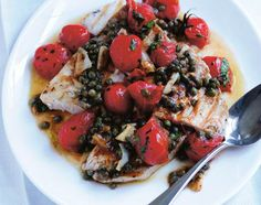 Swordfish, Cherry Tomatoes & Capers by jamieoliver #Swordfish #Tomatoes #Capers #Healthy