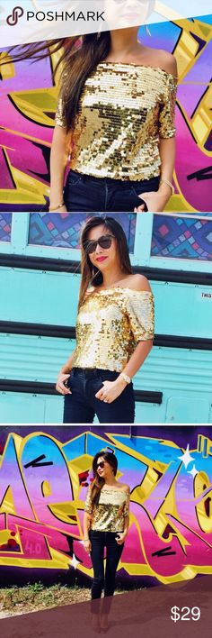 Sequined Off The Shoulder Top in Gold or Silver 🔹NWOT 🔹Model is wearing size small 🔹price firm 🔹more pics and measurements coming soon❤ ✨I do not trade  ✨I am happy to answer any questions! Tops