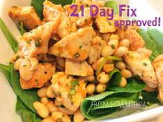 21 Day Fix approved recipe - spicy chicken & white beans.  fresh spinach = 1 Green canned white beans = 1 Yellow baked chicken = 1 Red Frank's RedHot sauce, cilantro, onion powder = FreeFoods  #21DayFix #21DayFixApproved #21DayFixRecipes #HealthyRecipe