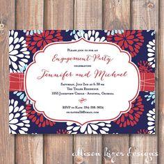 Firework Floral Printable Invitation by AllisonKizerDesigns, $16.00