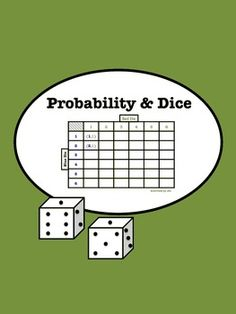 This dice activity helps students explore probability through rolling dice. The students then apply the concepts to graph their findings. Teaching Methods, Teaching Strategies, Teaching Tools, Teaching Math, Teaching Ideas, Seventh Grade Math, 5th Grade Math, Probability Games, Math Games