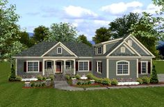 House Plan 92385   Country Craftsman Plan with 1800 Sq. Ft., 3 Bedrooms, 3 Bathrooms, 3 Car Garage at family home plans