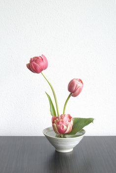 Ikebana with three Peony tulips by Otomodachi, via Flickr