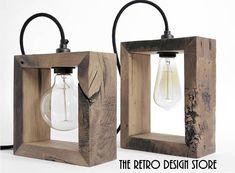 Hecho a mano lámparas de roble recuperada Light Fittings, Light Fixtures, Diy Luminaire, Handmade Lamps, Wooden Lamp, Brass Lamp, Diy Woodworking, Candle Sconces, Lamp Light