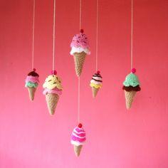 Crochet Tiny Pattern Ice Cream amigurumi PDF ebook - sweet cute kawaii - beginner tutorial - rattle, toy or mobile baby crochet pattern
