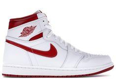 Nike Mens Air Jordan 1 White/Red Sz Basketball Shoes - Ideas of Jordan Shoes Addidas Shoes Mens, Sneakers Nike, Jordan 1 White, Jordan 4, Michael Jordan, All Jordans, Jordan Shoes Online, Authentic Jordans, Jordan Retro 1