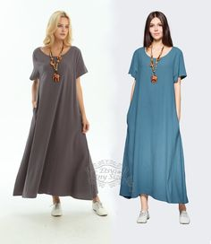 e982c64531 Anysize with sides pockets Enjoy Summer soft linen cotton loose dress  Spring Summer maxi dress plus