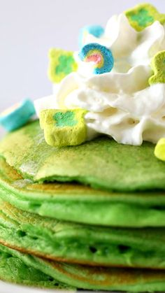 Green Pancakes Recipe ~ Topped with lucky charms... perfect breakfast for Saint Patrick's Day!