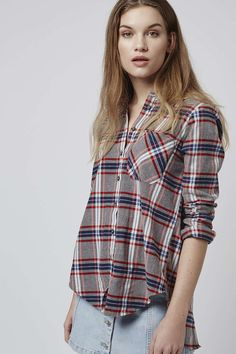 Get on trend retro in this oversized tartan check shirt, crafted from a soft cotton, featuring split back panel detailing. #Topshop