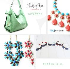 WOULD LOVE ANY OF THESE :) A Lovely You Prize List 1st Darling Bow Hobo Bag and Tropicana Necklace.   2nd Tropicana Necklace and Ray Ban Inspired Sunglasses.   3rd Confetti Necklace.
