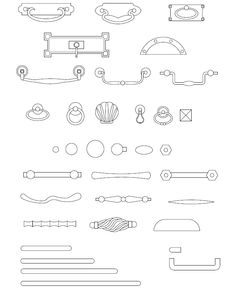 ArchBlocks AutoCAD Cabinet Hardware Block Symbols Interior Design And Technology, Interior Design Guide, Interior Sketch, Architecture Symbols, Architecture Portfolio, Architecture Details, Architecture Diagrams, Autocad, Window Blocks