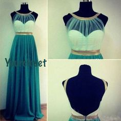 Prom Dress in Yourcloset · Attractive Green Chiffon Straps Floor Length Prom Dress / Evening Dress · Online Store Powered by Storenvy