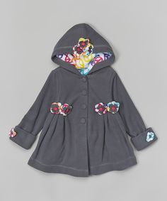 Look what I found on #zulily! Maria Elena Gray Floral Fleece Swing Coat - Toddler & Girls by Maria Elena #zulilyfinds