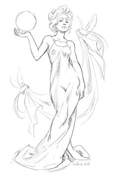 I don't often give works in progress their own post, but I'm too excited about the sketch for this one to keep it to myself! One of several art nouveau-style pieces I'm doing for a client. e: bit of Charles Gibson inspiration in there too, I think. I've been looking at a lot of turn of the century work for TCF.