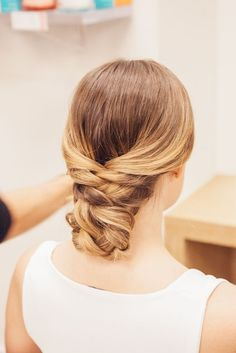 A wedding hair up-do perfect for the big day that's good for bridesmaids, too.