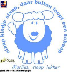 JERMA  l Decoraties Slaap kindje slaap decoratie sticker met eigen naam