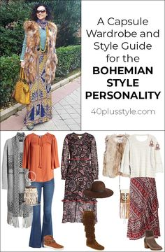 Do you love bohemian style? Then you will love this capsule wardrobe. Here is a style guide and capsule wardrobe for the bohemian style personality. Bohemian Style Clothing, Bohemian Chic Fashion, Bohemian Lifestyle, Boho Chic, Hippie Fashion, Bohemian Gypsy, Hippie Chic, Hippie Style, 70s Style