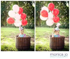One Year Old Photo Session with balloons. Super Cute.