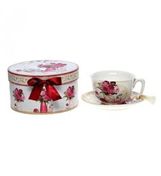 PORCELAIN CUP AND SAUCER W_ PINK FLOWER W_GIFT BOX 12X10X6_ D-14