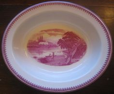 Decorative Dishes - Fuschia Deep Pink Exotic Castle Boys Boat River 1920's Oval Bowl  L, $39.99 (http://www.decorativedishes.net/fuschia-deep-pink-exotic-castle-boys-boat-river-1920s-oval-bowl-l/)