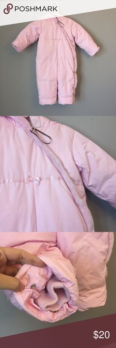 Baby Gap baby pink snowsuit My daughter probably worn then 4x max. A one piece snowsuit that zips up. Very thick. Still in pretty great shape. Fleece lined and hooded. Baby Gap Jackets & Coats Puffers
