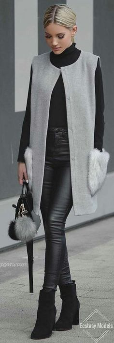 Fall Outfits Vest, knee length best, I want my style, winter wear, Grey Vibes // Fashion Look by Shanda Rogers Fall Winter Outfits, Autumn Winter Fashion, Winter Wear, Fashion Fall, Winter Clothes, Street Fashion, Winter Chic, Mode Outfits, Casual Outfits