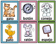 Palabras que rimanRimas:Tarjetas de palabras que riman. Spanish Rhyming Cards  A set of 75 pairs of rhyming cards in Spanish. These cards can be used for bulletin boards or word walls, for instruction, or for practice in small groups and literacy stations or learning centers. They are ideal for bilingual and dual language classrooms and for Spanish language classes.