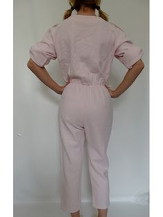 1980s pink cotton summer JUMPSUIT // New by louloufrenchvintage