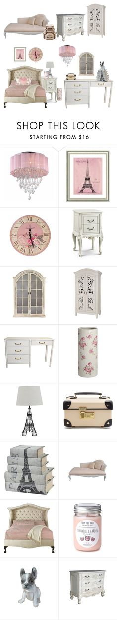 """""""Paris Bedroom"""" by jinx13a ❤ liked on Polyvore featuring interior, interiors, interior design, home, home decor, interior decorating, Warehouse of Tiffany, Vintage Print Gallery, Aspire Home Accents and Globe-Trotter"""