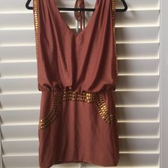 Open back mini dress Rust colored dress with gold details.  Polyester and spandex.  Open back with tie at back of neck.  Worn one time. Boutique dress Do & be Dresses Mini