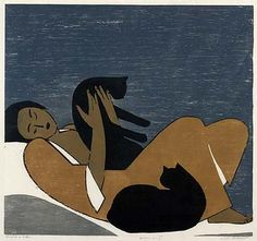 "Will Barnet (b. 1911), ""Woman and Cats"" (1962); color woodcut on paper.  22 7/8 x 24 1/2 in. (58.1 x 62.2 cm).  Smithsonian American Art Museum."