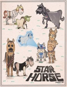 """An illustration inspired by a little boy who's convinced Star Wars is actually called """"Star Horse"""":"""