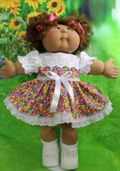 Made using cotton and eyelet lace - made to fits doll Black Cabbage Patch Doll, Cabbage Patch Kids Clothes, Cabbage Patch Kids Dolls, Baby Doll Clothes, Doll Clothes Patterns, Doll Patterns, Clothing Patterns, Baby Dolls, Clothes 2019