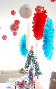 tissue paper balls for x mas
