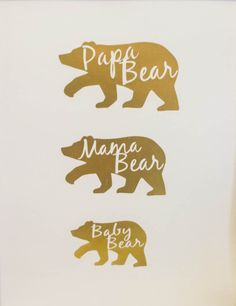 Gold Foil Print for Nursery (faux) | Papa Bear, Mama Bear, Baby Bear Gold Foil Print by CreativeHouseShop on Etsy