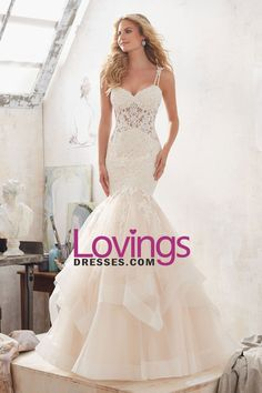 2017 New Arrival Spaghetti Straps Mermaid Wedding Dresses Tulle With Applique