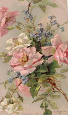 Roses et myosotis  de Catherine Klein