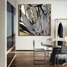 Large Abstract Painting On Canvas Gray Painting Golden Leaf Painting Abstract Oil Painting Original Abstract Canvas Wall Art Office Decor - Toptrendpin Abstract Canvas Wall Art, Oil Painting Abstract, Large Canvas Art, Painting Canvas, Artist Painting, Mirror Painting, Diy Painting, Mirror Artwork, Painting Flowers