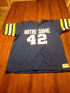 daf0b145f Mens Vintage Notre Dame Football Jersey Sand-Knit Medalist Irish Size Large