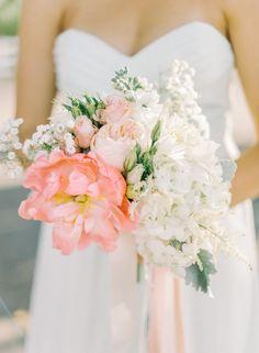 Pop of color peony bouquet: http://www.stylemepretty.com/california-weddings/2015/02/06/rustic-glamour-camarillo-ranch-wedding/ | Photography: Mariel Hannah Photography - marielhannahphoto.com