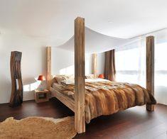 Design Ideen Für Himmelbetten Pelz Holz Balken Schlafzimmer