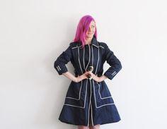 mod navy blue rain coat . geometric white piping .medium by DOTTO
